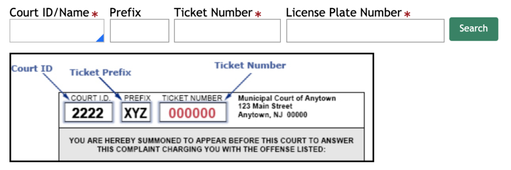 Enter the Court ID/Name , Prefix, Traffic Ticket number, License Plater Number in the provided fields and Continue to search